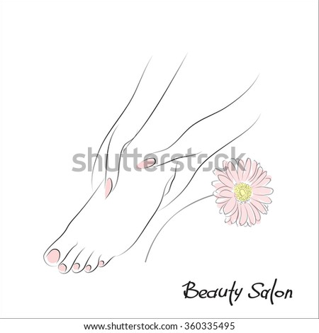 Pedicure banner with female feet and pink nails. Foot spa vector illustration. Body care, health and wellness concept - stock vector