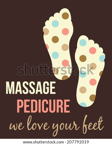 Pedicure,massage retro poster - stock vector