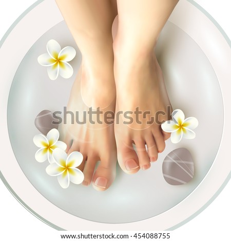 Pedicure spa female feet in spa bowl with water flowers and stones realistic vector illustration - stock vector