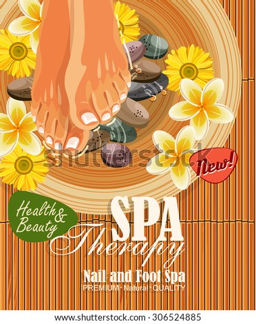 Pedicure spa poster with women's legs or feet with pink nail on bamboo background - stock vector