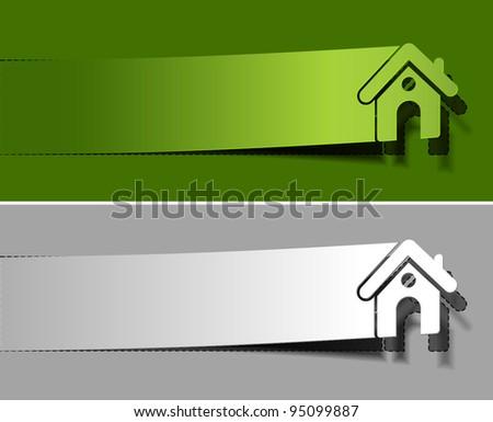 peel of vector home banner design. vector illustration - stock vector
