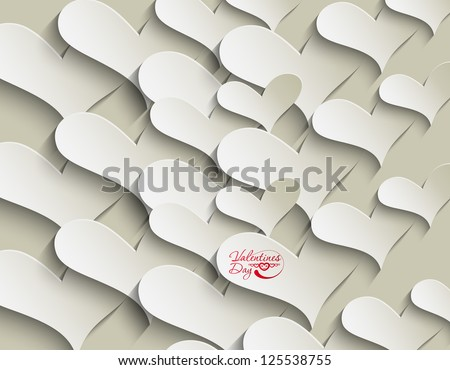 peel off valentines day hearts, eps10 vector - stock vector
