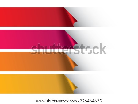 Peeling off white background to reveal rows of warm color paper strips. Abstract vector background design. - stock vector