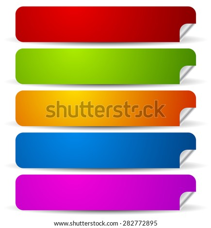 Peeling rounded rectangle stickers with empty space. - stock vector