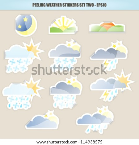 Peeling Weather Sticker Icons - Set Two. Vector EPS10 Version.
