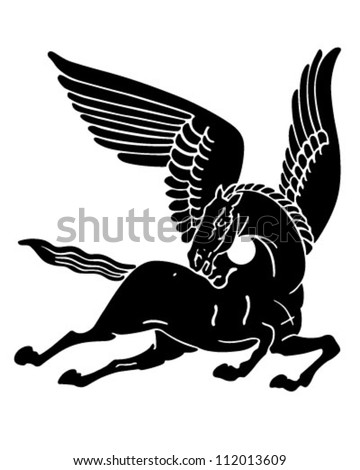 Pegasus Horse Silhouette - Retro Clipart Illustration - stock vector