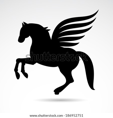 Pegasus icon isolated on white background. VECTOR illustration. - stock vector