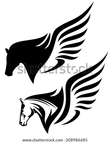 pegasus profile head design - winged horse black and white vector illustration - stock vector