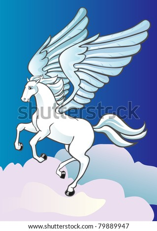 Pegasus soaring in the clouds in the sky - stock vector