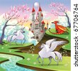 Pegasus, unicorn and dragon in a mythological landscape. Cartoon and vector illustration, objects isolated . - stock vector