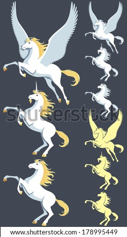 Pegasus, unicorn and stallion clip art. Silhouette versions and pure white versions are also included. No transparency and gradients used. - stock vector