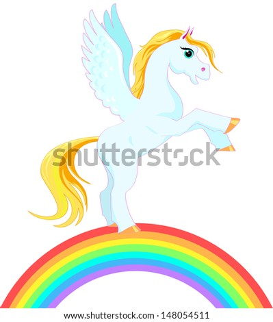 Pegasus with a golden mane and tail on a rainbow - stock vector