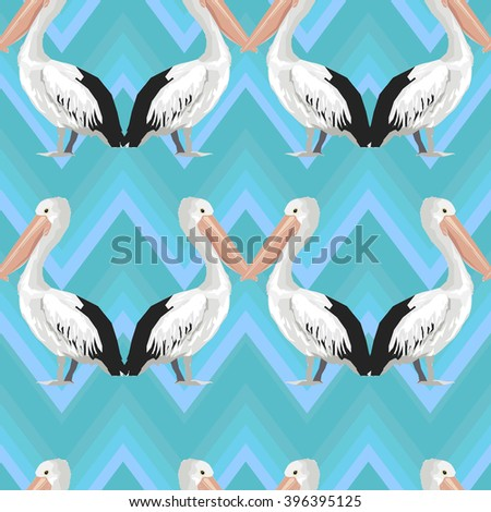 pelican pattern, texture design, vector illustration, pelican seamless  - stock vector