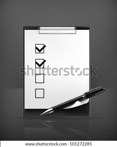 Pen and check boxes, vector - stock vector