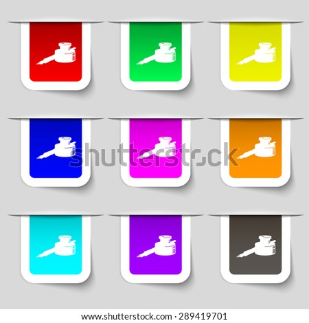 pen and ink icon sign. Set of multicolored modern labels for your design. Vector illustration - stock vector