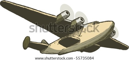 Pen and ink style illustration of a B314 Boeing Clipper sea plane.