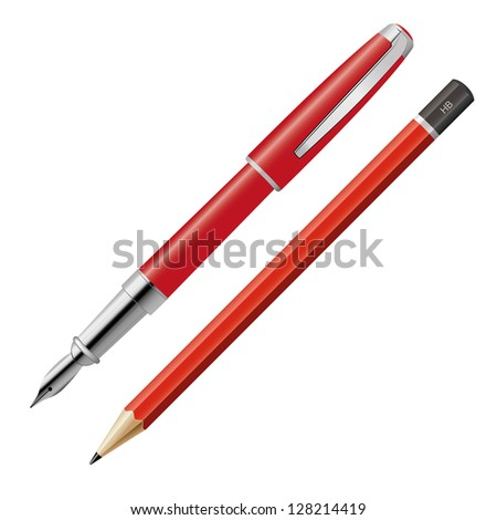 Pen and pencil on white background - stock vector