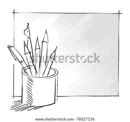 pen and pencils in a can, freehand drawing, artistic vector - stock vector