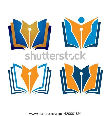 Pen Book Author Writer Editor Logo Set - stock vector