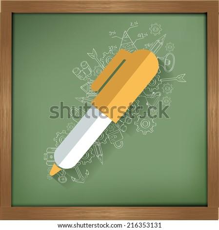 Pen design on blackboard background,clean vector - stock vector