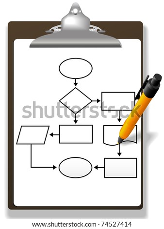 Pen drawing a process management or program flowchart on a clipboard - stock vector