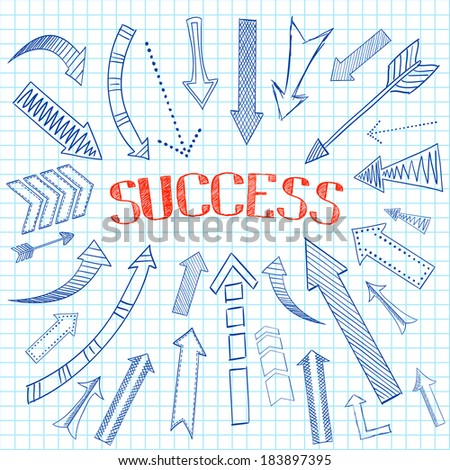 Pen drawing arrows pointed on word success on squared notebook background sketch icons flat isolated vector illustration - stock vector
