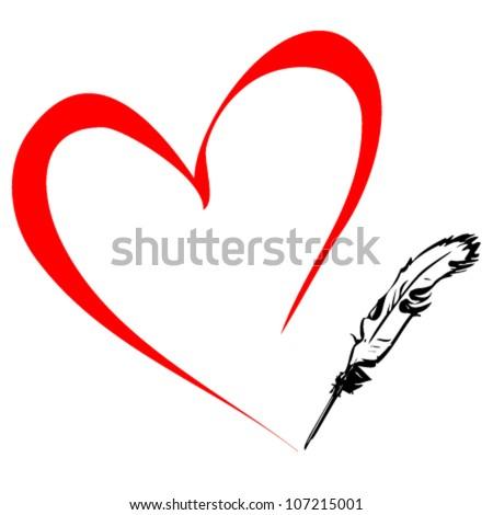 Pen draws the heart - stock vector