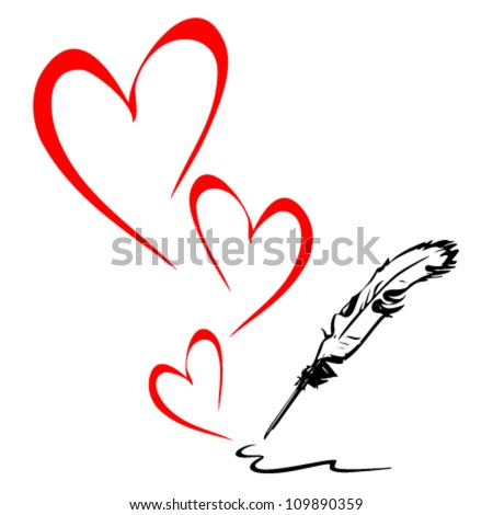 Pen draws the heart - stock vector