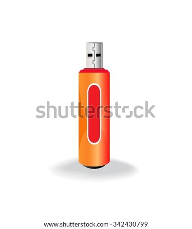 Pen drive Isolated On White - stock vector