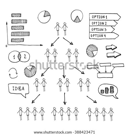 Pen hand drawn doodle business timeline element for Infographic. For business projects templates for presentation and training. Simple Editable Graphic infographics elements. Vector illustration. - stock vector