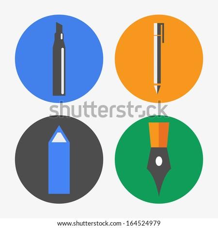Pen icons - stock vector