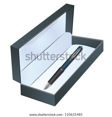 Pen in a box on the white background - stock vector
