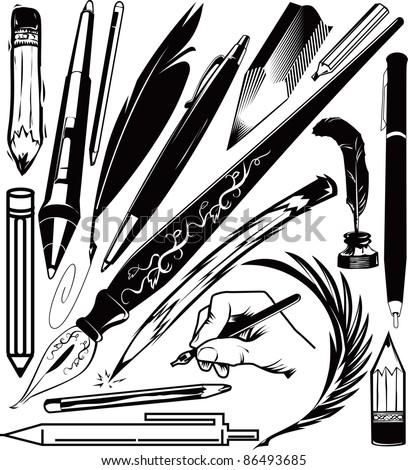 Pen & Pencil Collection - stock vector