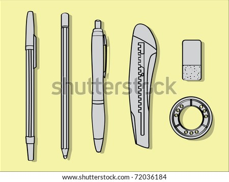 pen pencil cutter eraser and tape - office tool illustration - stock vector