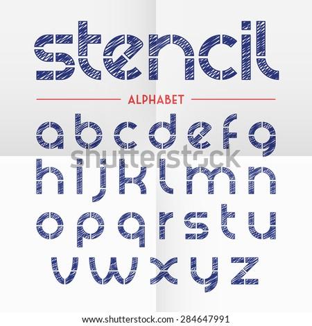 Pen scribbled stencil alphabet letters. Vector. - stock vector