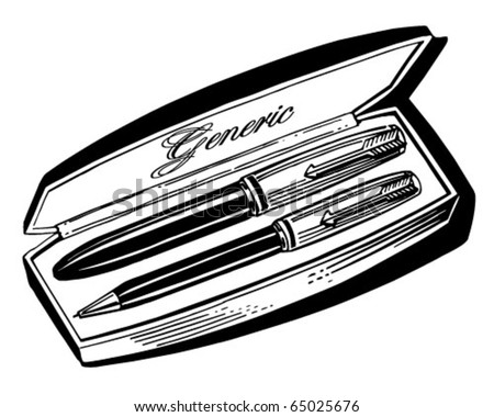 Pen Set 2 - Retro Clipart Illustration