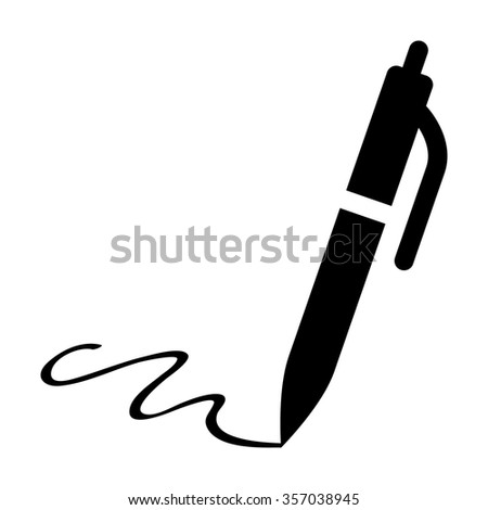 Pen signing signature flat icon for apps and websites