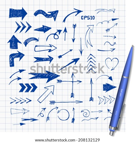 Pen sketch arrow collection for your design. Vector illustration.  - stock vector