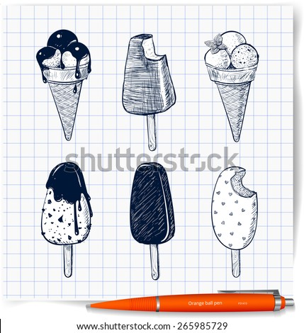Pen Sketches of six kinds of ice-cream on squared paper. Ice cream cone, classic chocolate stick ice cream, ice cream scoops decorated with mint, chocolate topping. Vector illustration. - stock vector