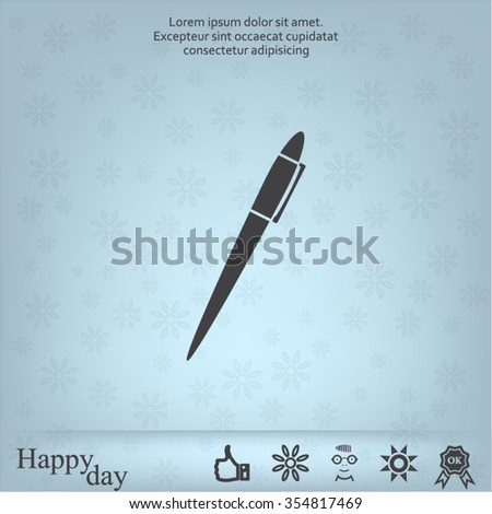 Pen with shadow on a gray background, vector icon