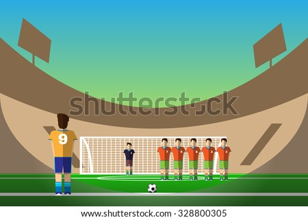 Penalty Soccer Players Defending The Gates. Sportswear flat design. Men on football stadium wearing blue boots with blue socks, green shorts and orange t-shirt. Digital background vector illustration. - stock vector