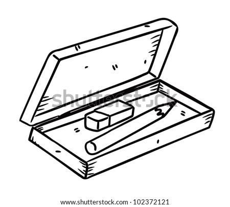 pencil and eraser with box in doodle style - stock vector