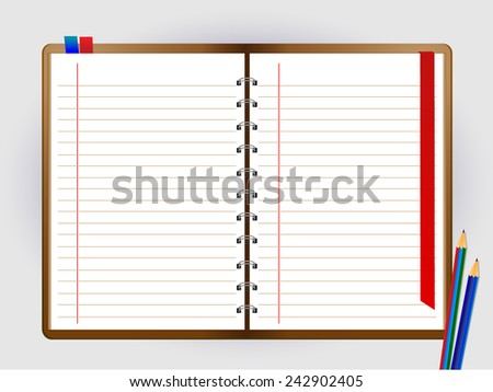 Pencil and notebook on White background - stock vector