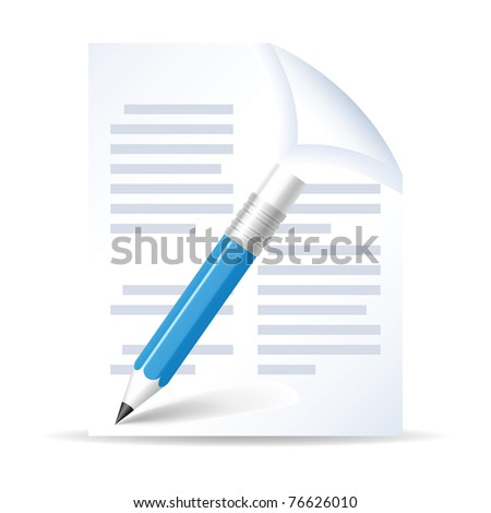 Pencil and paper on  white background. - stock vector