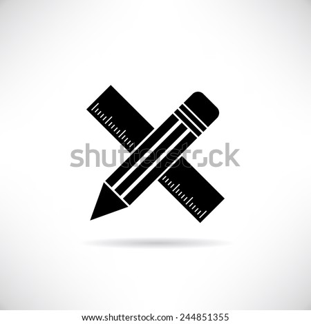 pencil and ruler - stock vector