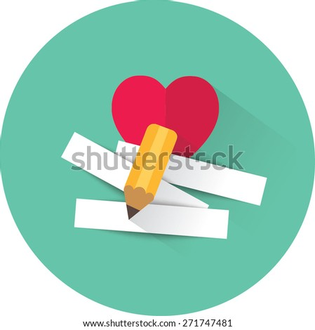 Pencil and strips of paper for message for beloved . Vector illustration. - stock vector