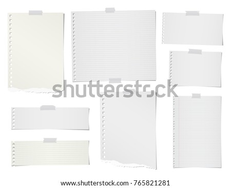Pencil and torn ruled, blank note, notebook, paper sheets for text or message stuck with sticky tape on white background.