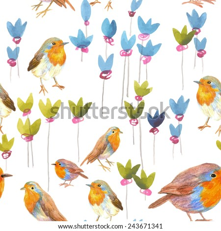 pencil and watercolor sketch seamless pattern with flowers and bird robin - stock vector