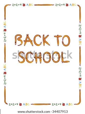 "Pencil, apple, and text border to fit 8.5"" x 11"" paper with ""Back to School"" lettering made from pencils - stock vector"