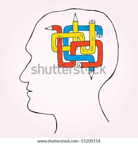 Pencil Brain - stock vector
